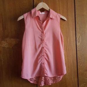 Sleeveless Peach Button Down Shirt